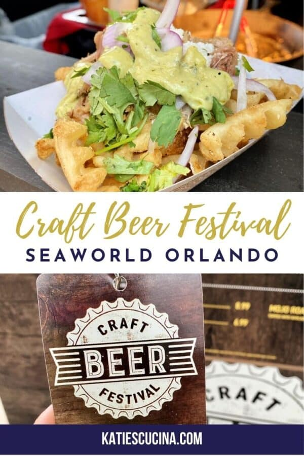 Two photos: top of loaded waffle fries, bottom of craft beer festival lanyard and text on image for Pinterest.