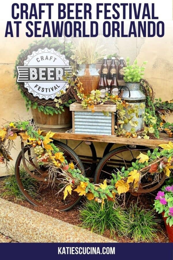 Craft Beer Festival wagon with foliage and beer bottles and text on image for Pinterest.