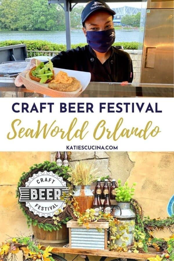 Two images; top of SeaWorld employee handing food, bottom of craft beer festival wagon.