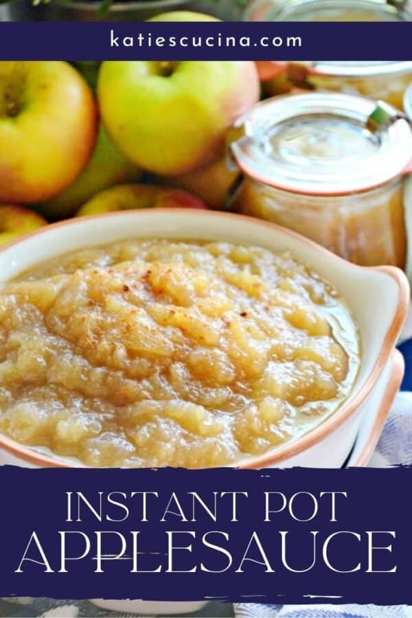 Applesauce in a white bowl with apples and canned applesauce in background.