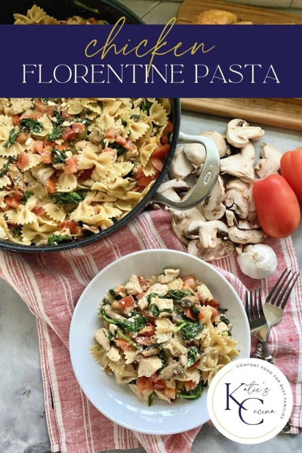 Top view of skillet pasta with a bowl of bow tie pasta and chicken with text.