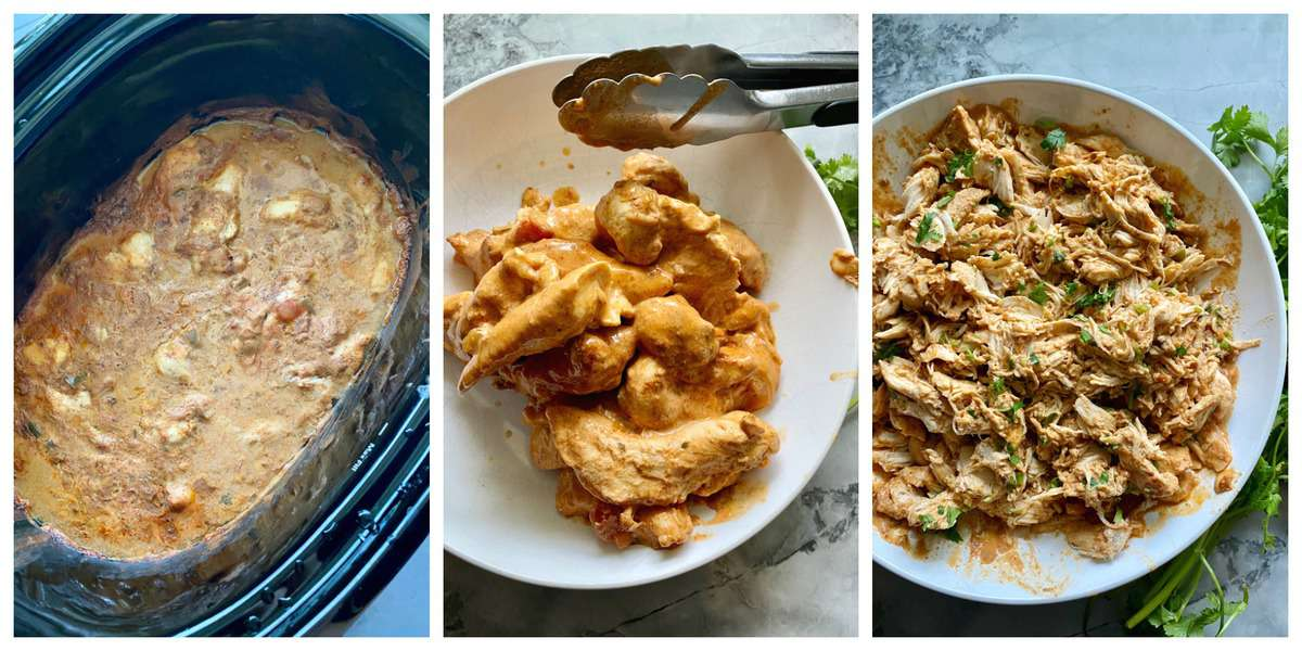 Three process photos: cream sauce in slow cooker, chunks of cooked chicken in bowl, shredded chicken in bowl.
