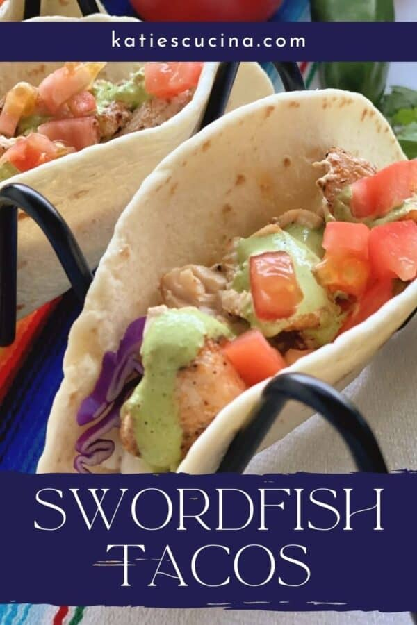 Close up of one soft taco with fish and diced tomatoes with text on image for Pinterest.