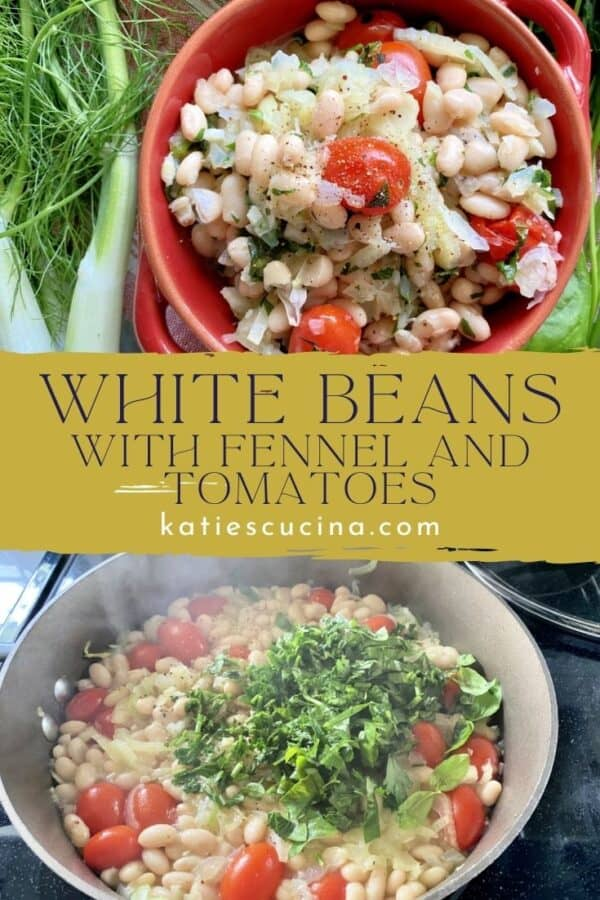 Two photos: Top of red bowl with white beans, bottom of a skillet with white beans, tomatoes, and herbs cooking.