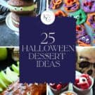 Four photos of Halloween foods with text on image for Pinterest.