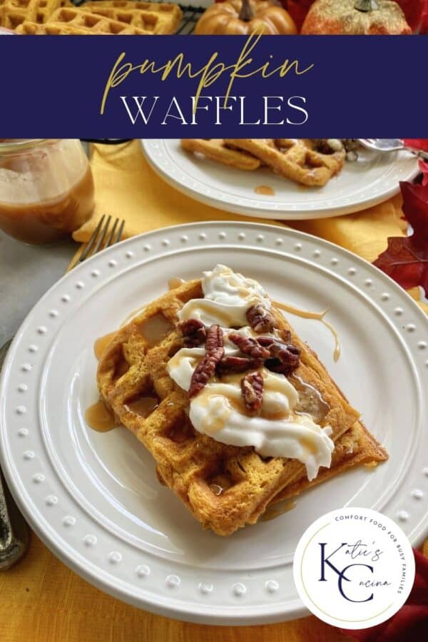 Two rectangular waffles stacked on a white plate with text on image for Pinterest.