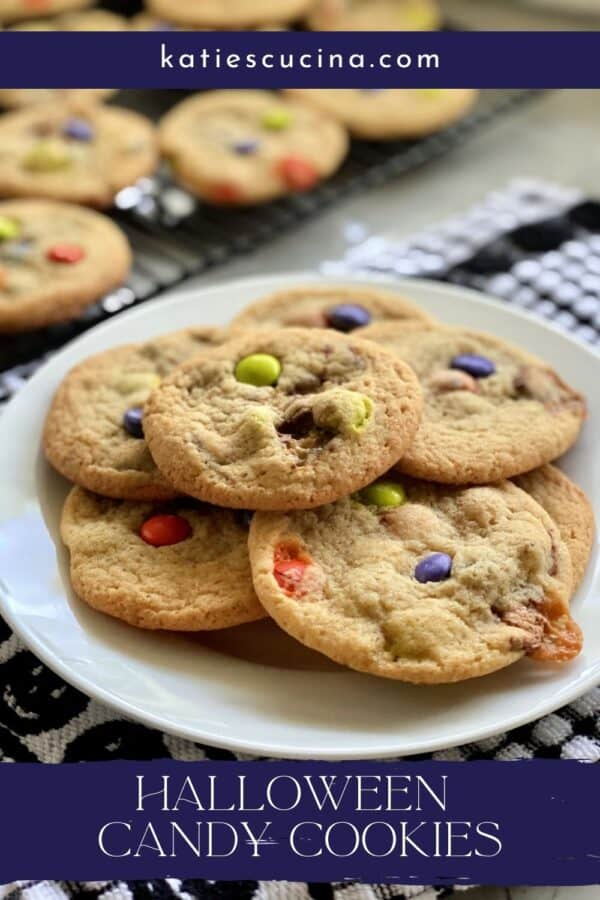 Plate of canday cookies with text on image for Pinterest.