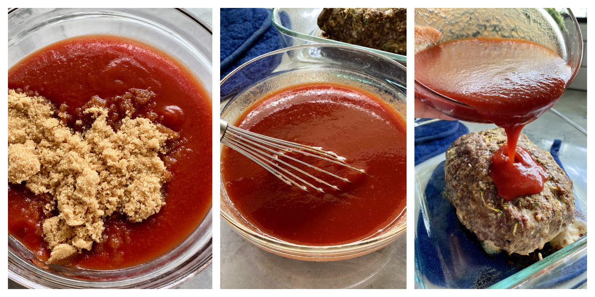 Three process shots of a bowl filled with tomato sauce and brown sugar, whisked and poured on cooked beef.