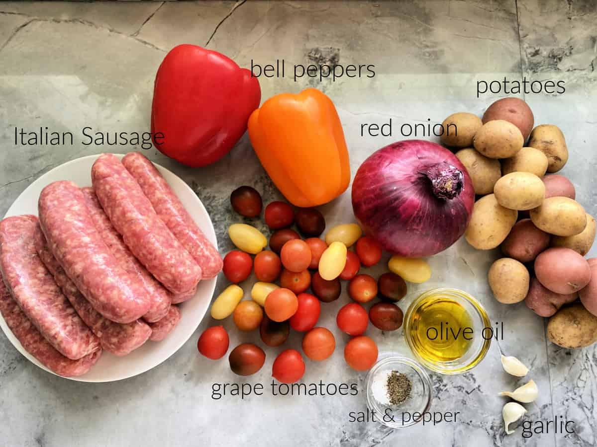 Ingredients: Italian Sausage, bell peppers, potatoes, onion, tomatoes, oil, seasoning.