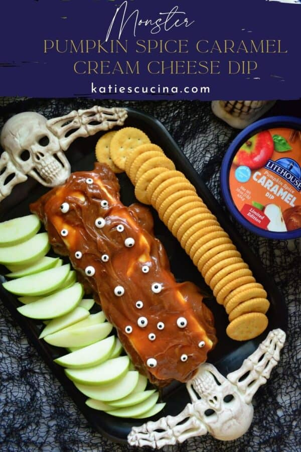 Top view of a caramel dip with eyeball candies with text on image for Pinterest.