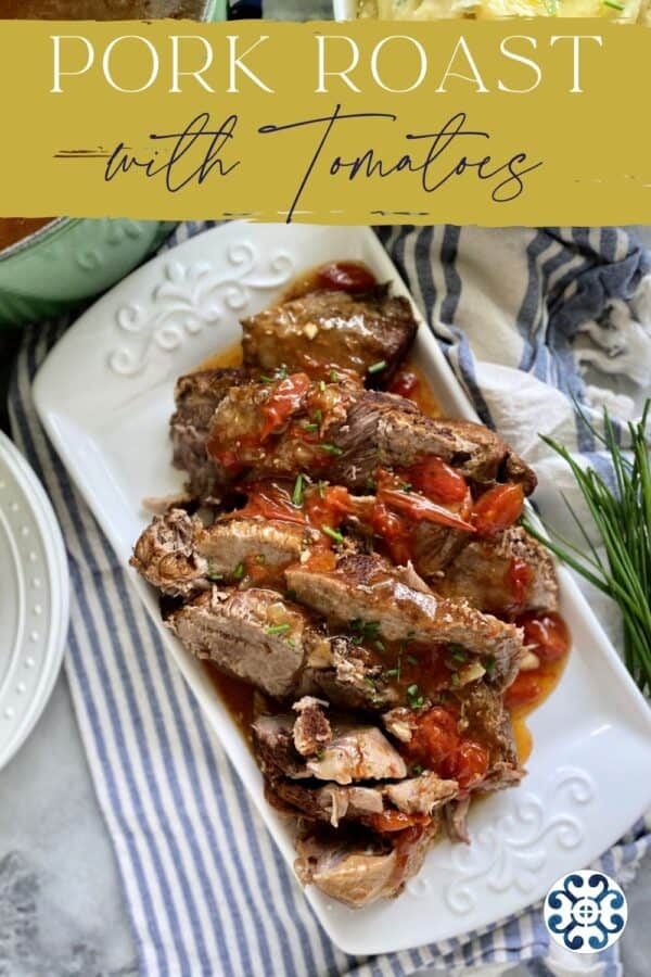 Top view of a tray of sliced pork with text on image for Pinterest.