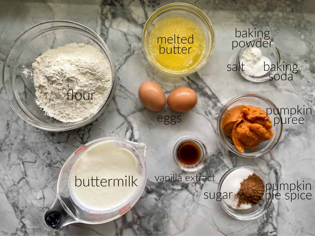 Ingredients: flour, buttermilk, butter, eggs, vanilla, sugar, pumpkin, etc.