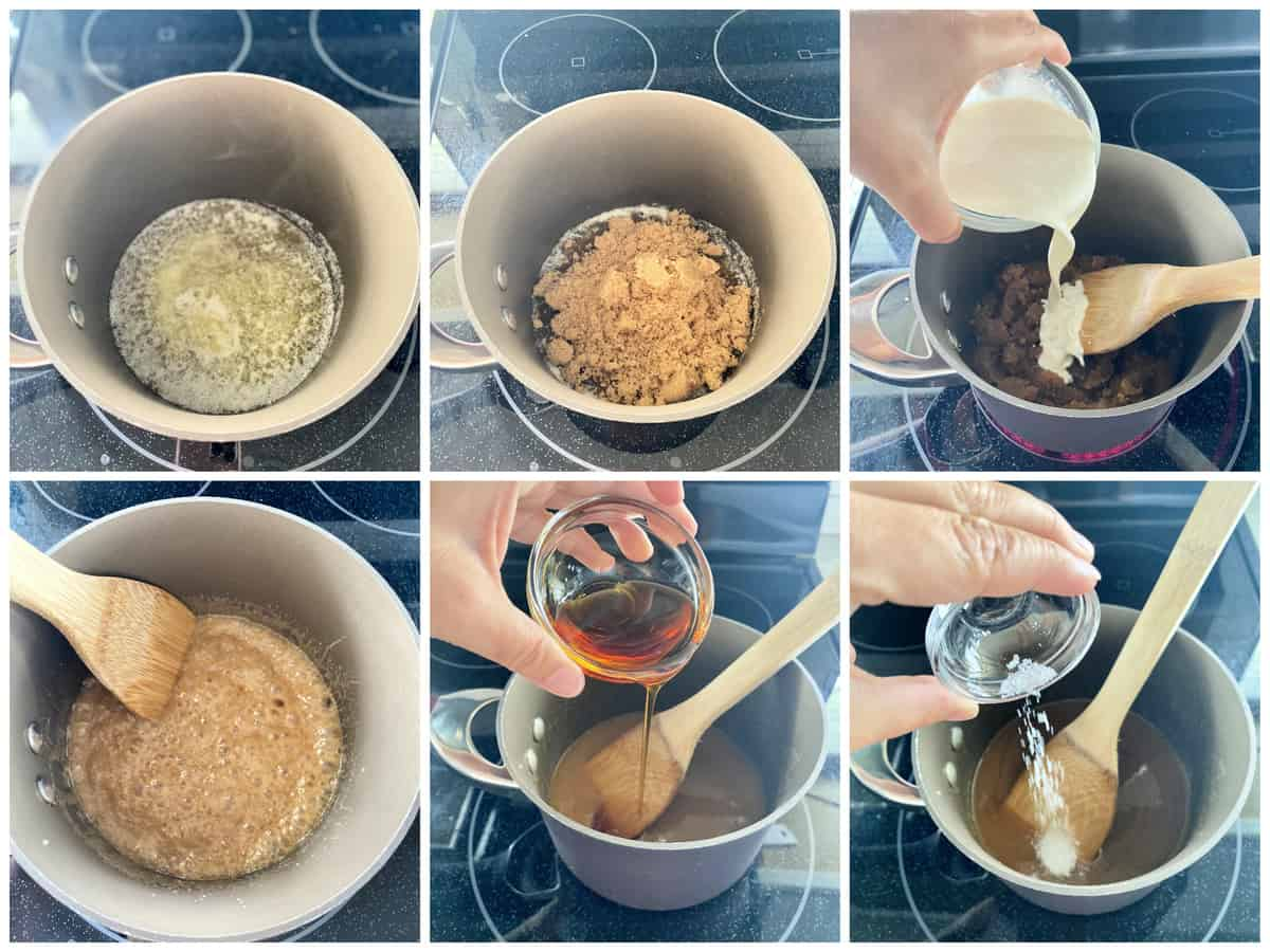 6 process photos of how to make salted caramel sauce.