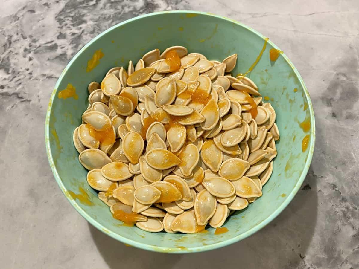 Green bowl filled with fresh pumpkin seeds and pumpkin guts.