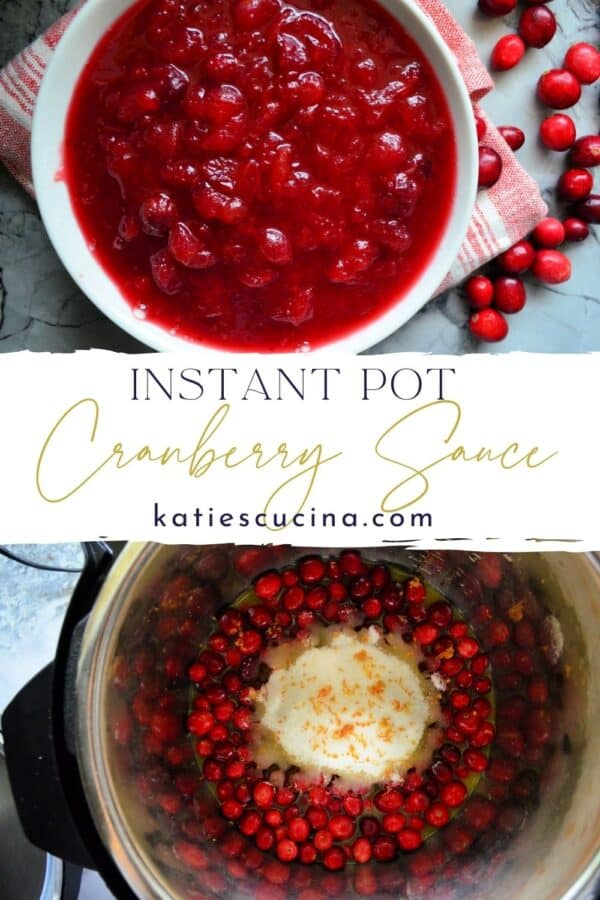 Two photos of cranberry sauce, top cooked in a bowl, bottom before cooking.