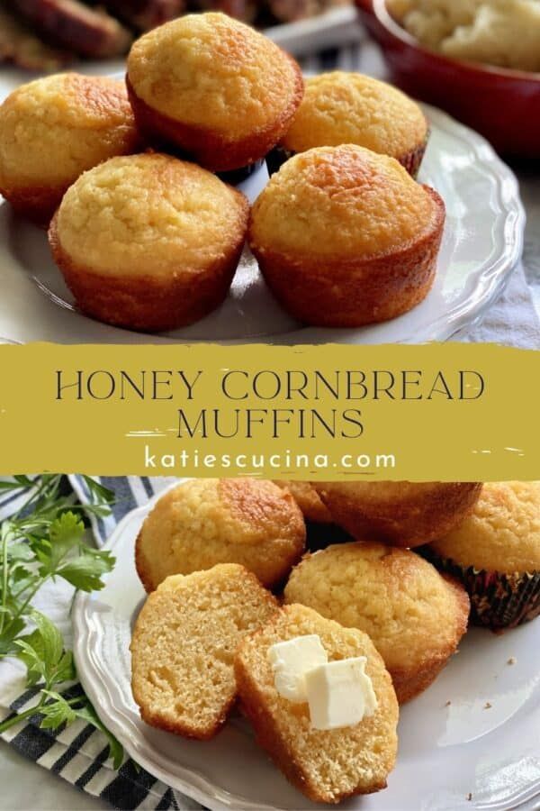 Two photos with text in middle: Top of stacked cornbread, bottom of muffins with one sliced with butter on top.