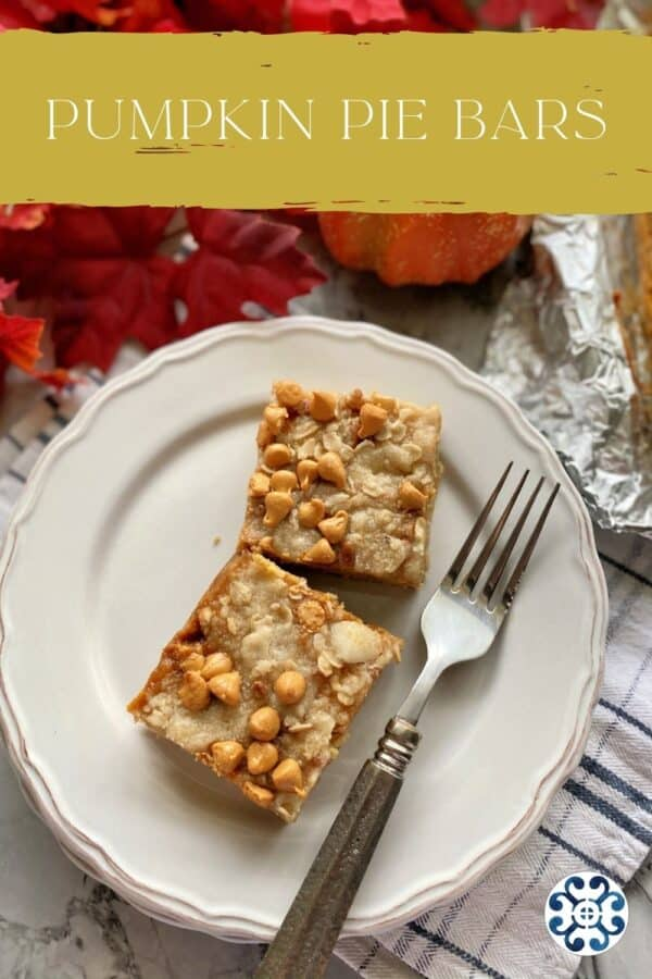 Two pumpkin pie bars on a plate with a fork and text on image for Pinterest.