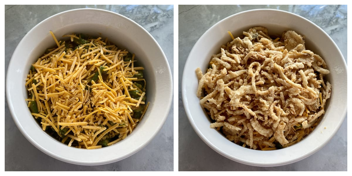 Two photos: top view of a casserole dish with cheese on top and the right with french fried onions.
