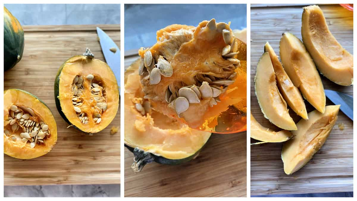 Three photos of acorn squash opened, sliced, and seeded.