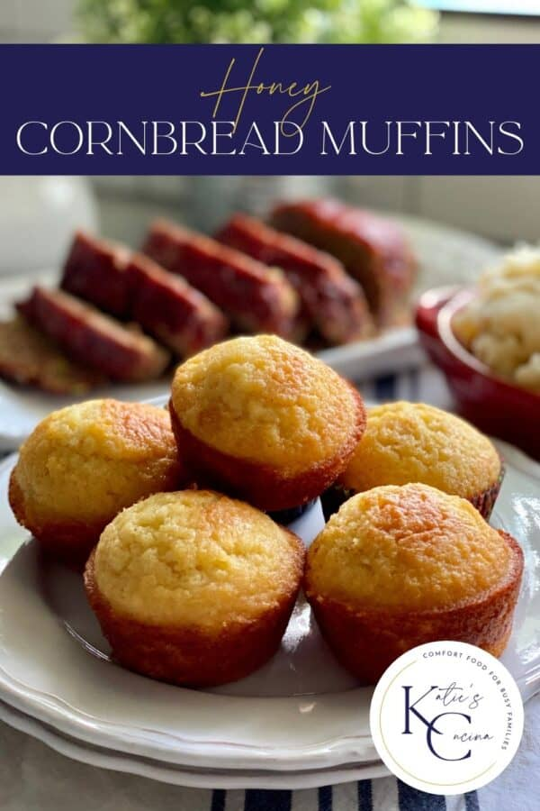 Two white plates with cornbread muffins stacked on top with text on image for Pinterest.