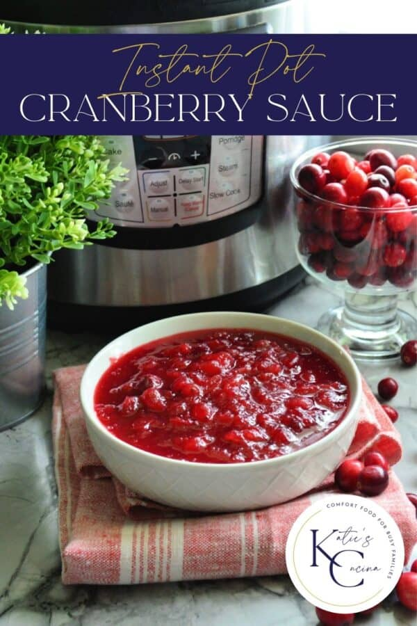 White bowl with cranberry sauce with text on image for Pinterest.