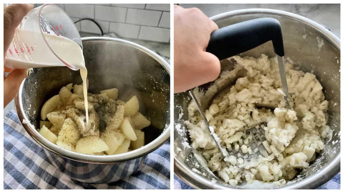 Two photos; Left pouring cream into potatoes, right mashing potatoes with a potato masher.