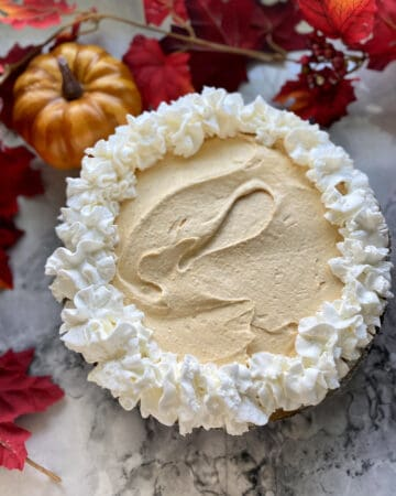 Full pumpkin cheesecake pie with fall leaves and pumpkins in background.