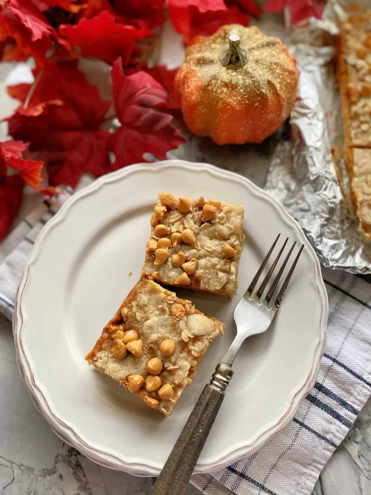 Top view of two pumpkin pie bars with butterscotch chips on a plate.