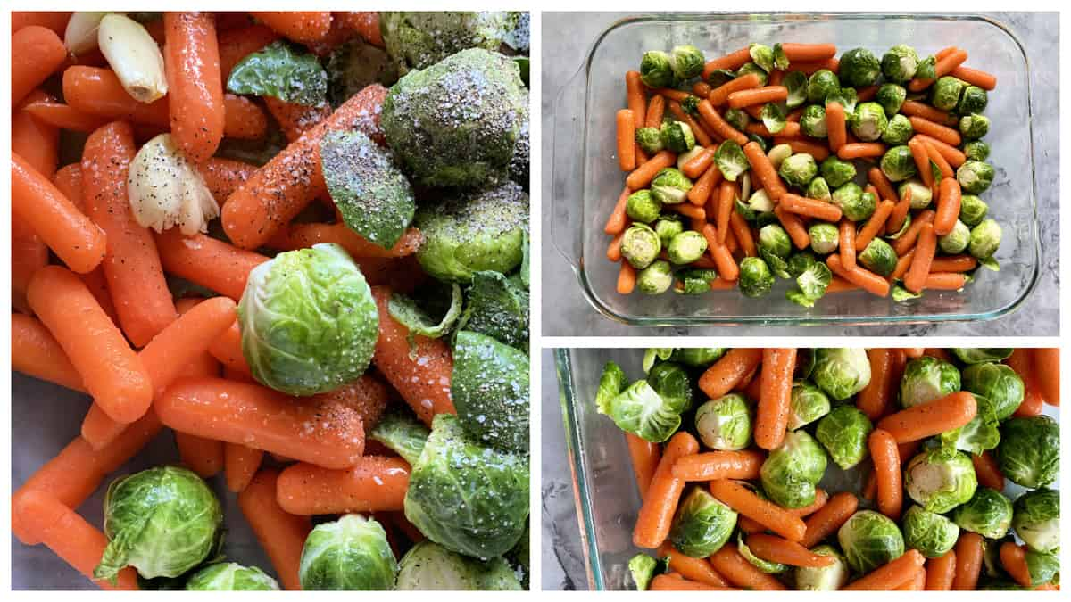 Three photos of preparing Brussels Sprouts and baby carrots.