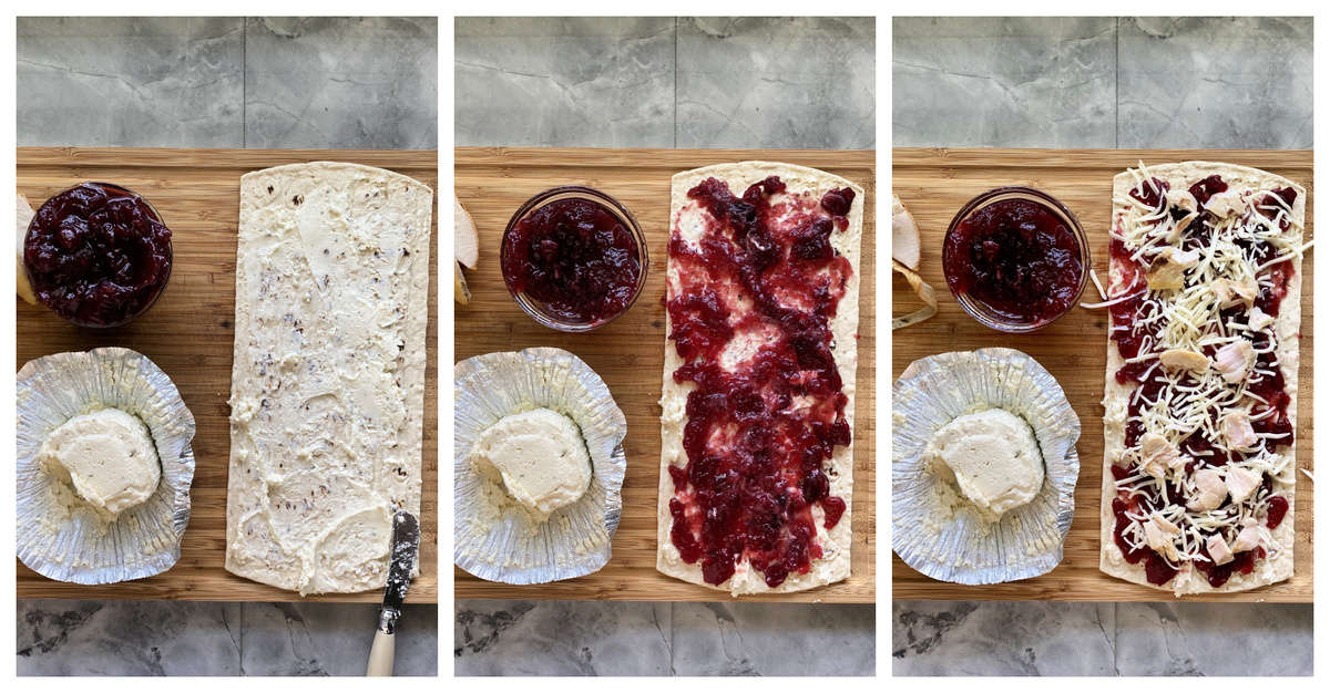 Three process photos on how to make a turkey and cranberry sauce flatbread.
