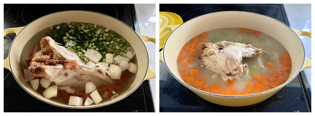 Two photos making turkey stock on a black stovetop.