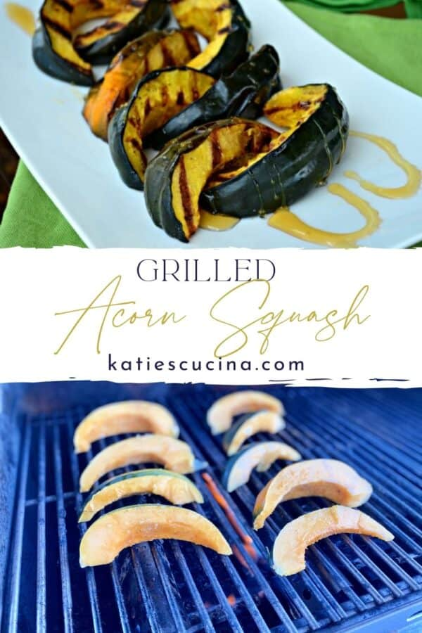 Two photos: top of cooked grilled acorn squash, bottom of slices of fresh acorn squash.