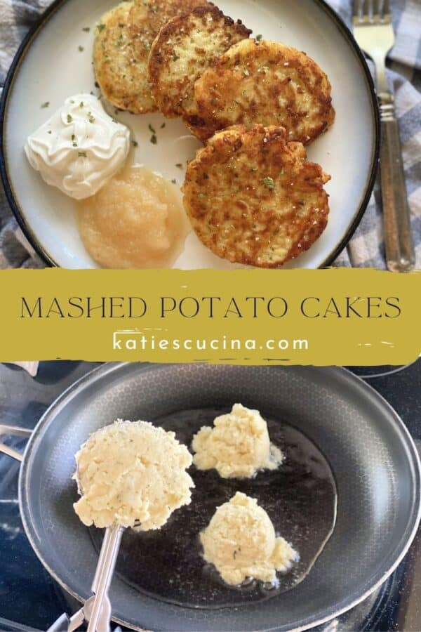 Two photos: Top of Mashed Potato Cakes with sour cream and applesauce, bottom of scoops of mashed potatoes in frying pan.