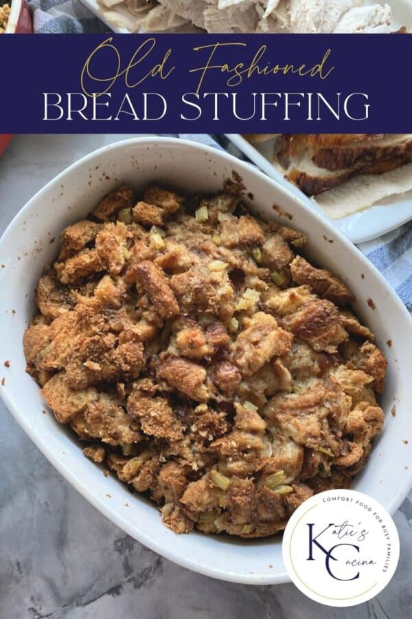 Top view of a baked bread stuffing with text on image for Pinterest.