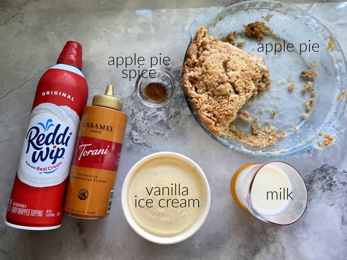 Ingredients: apple pie, milk, ice cream, apple pie spice, carmale sauce, and whipped cream