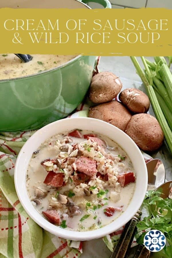 Bowl of sausage and rice soup with text on image for Pinterest.