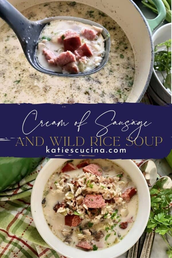 Two photos of sausage and rice soup split by text on image for Pinterest.