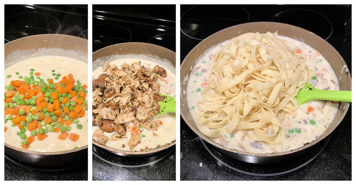 Three photo split: Sauce pan with cream sauce, peas and carrots, mushrooms and turkey, and pasta.