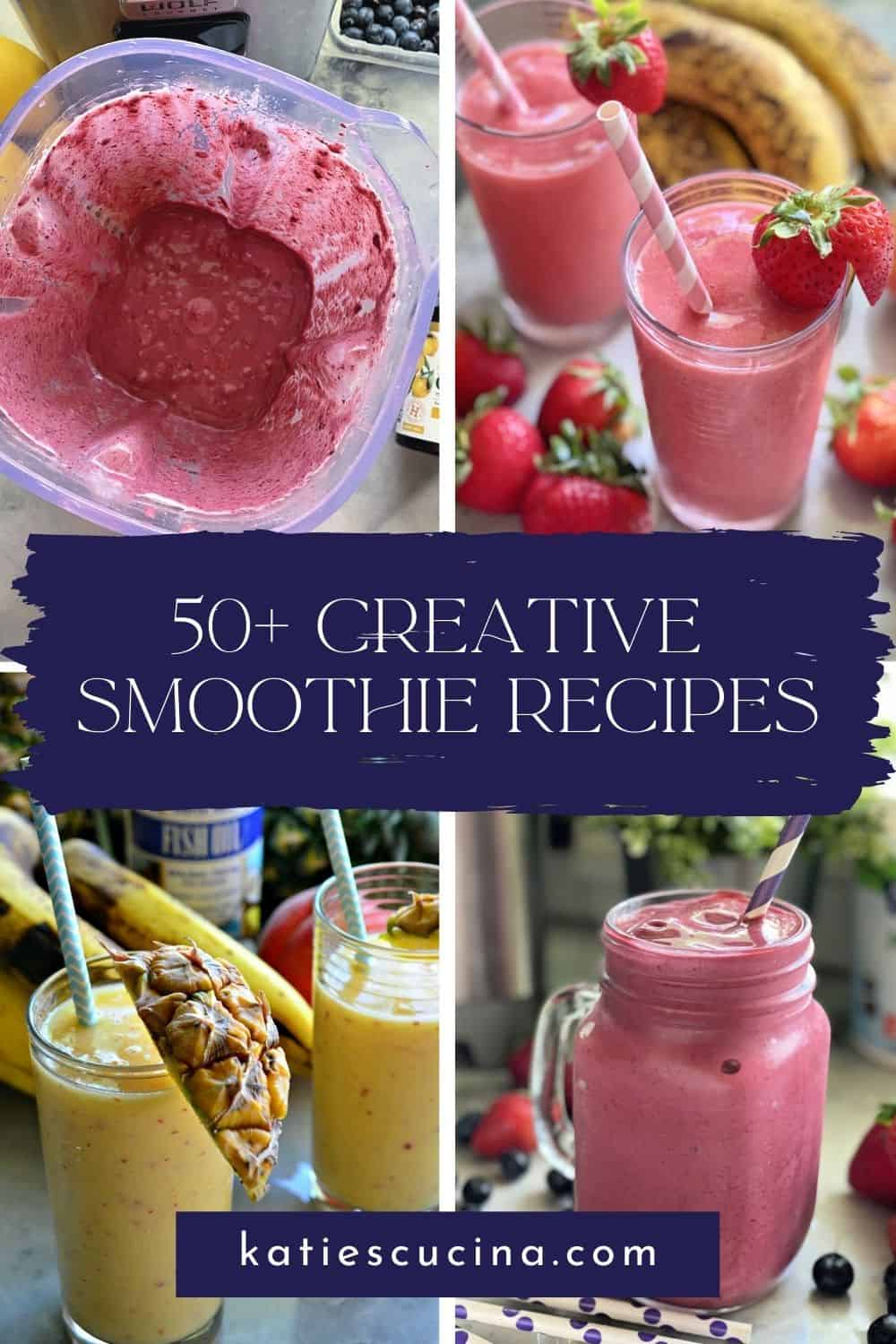Four photos of bright colored smoothies with text on image for Pinterest.