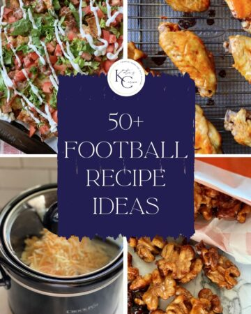 Four photo collage of different football recipes.