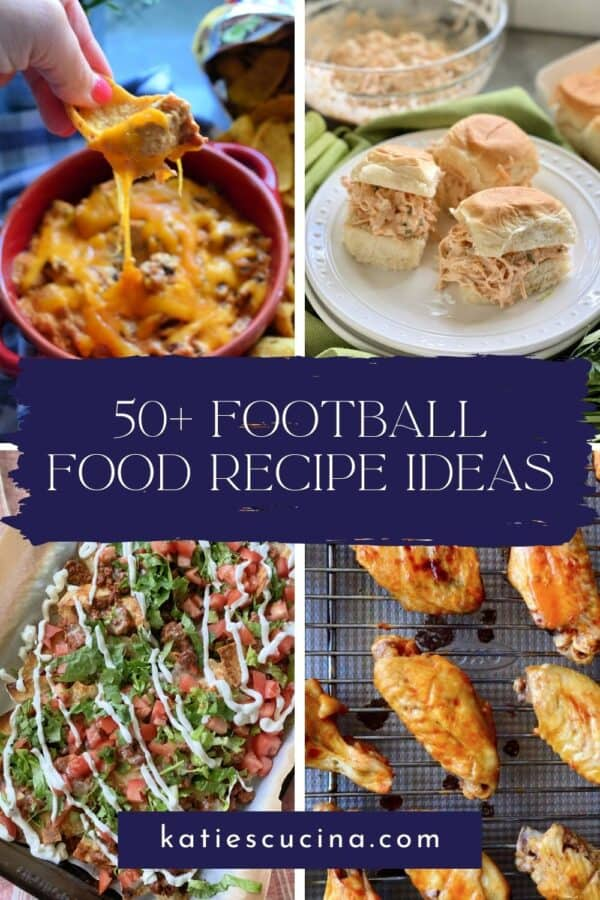 Four photos of football appetizers with text on image.