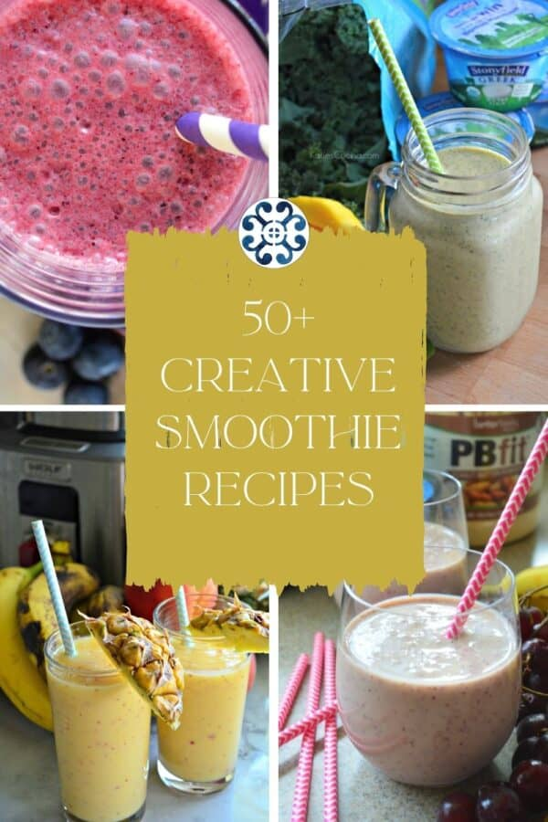 Four photos of smoothies with with text on image for Pinterest.