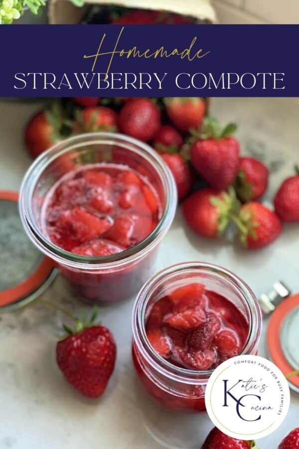 Two glass jars filled with strawberry sauce with text on image for Pinterest.