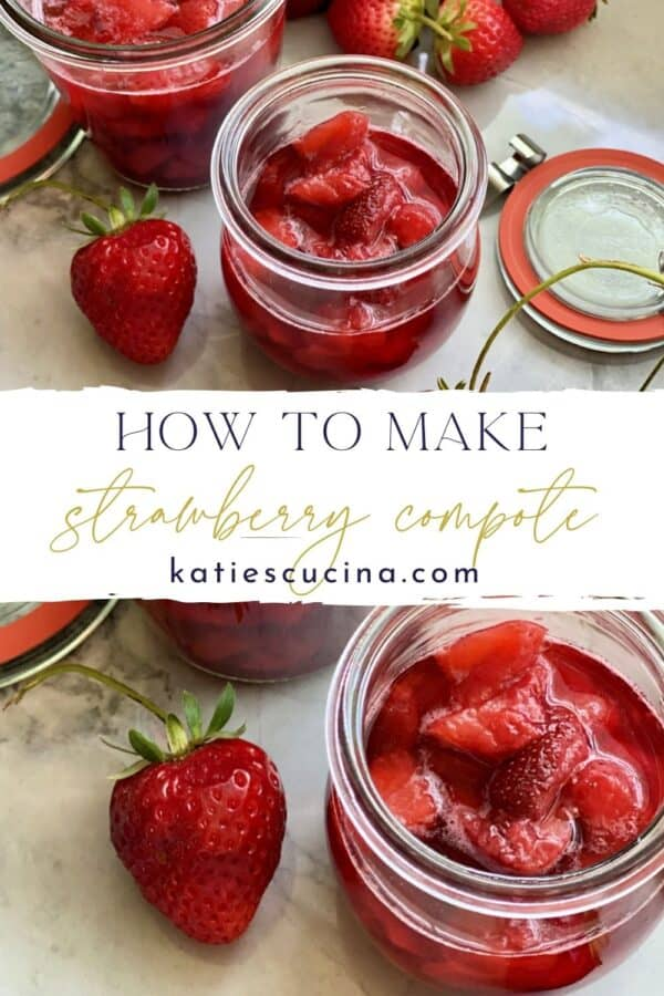 Two photos of strawberry sauce split by text on image for Pinterest.