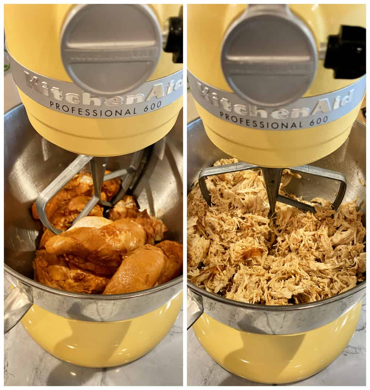 Two photos of a yellow KitchenAid mixer; left side has full cooked chicken breast right side as shredded chicken.