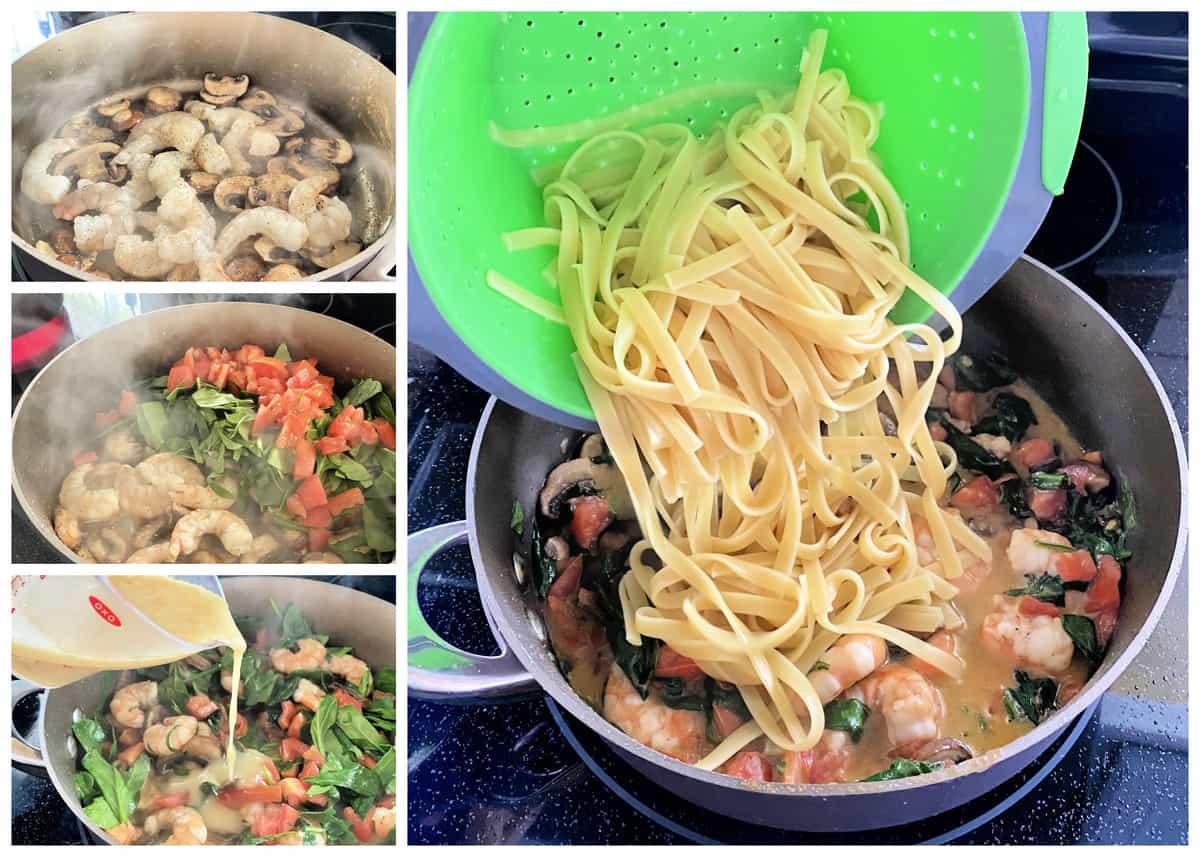 Four process photos of making shrimp pasta.