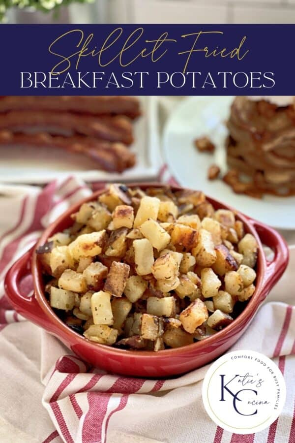 Red bowl with fried potatoes with text on Image for Pinterest.
