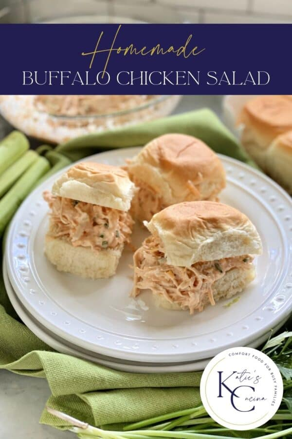 Three buffalo chicken salad sandwiches on a white plate with text on image for Pinterest.