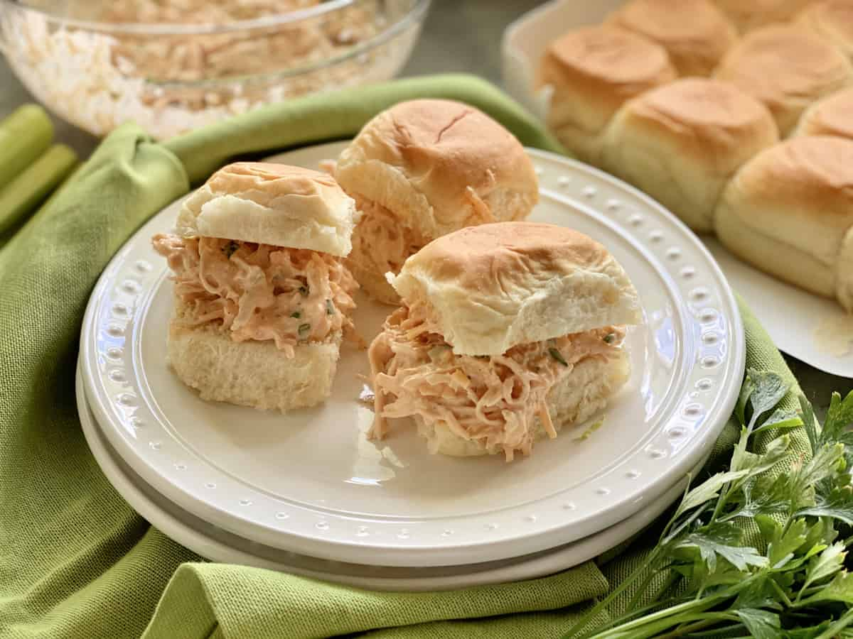 Three King's Hawaiian Rolls filled with buffalo shredded chicken.