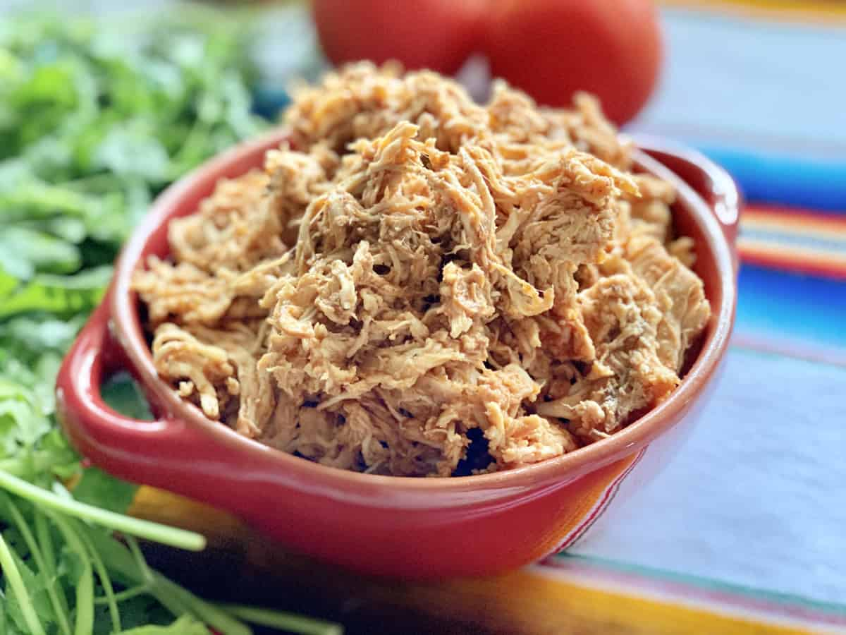 A red bowl filled with shredded chicken with fresh green cilantro on the side.
